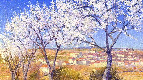 Achille Lauge - Flowering Almond Trees, Cailhau (detail), 1909, image courtesy of Schiller & Bodo