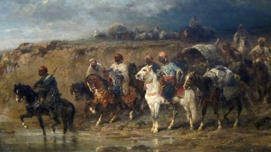 Adolf Schreyer - Arab Caravan, detail from the image by Wikipedia