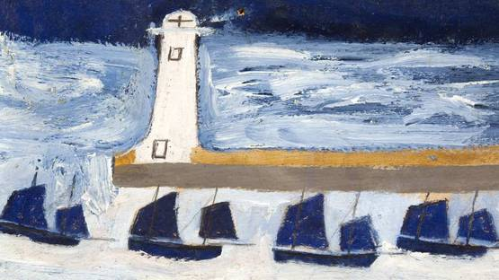 Alfred Wallis - Four Luggers and a Lighthouse (detail) - 1928