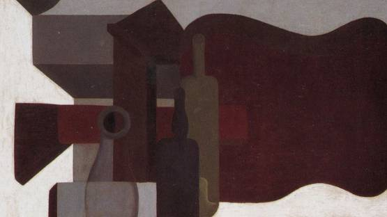 Amedee Ozenfant - Guitar and Bottles (detail), photo via paintingdb com
