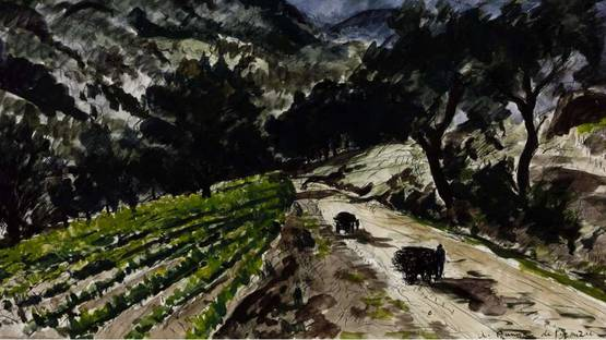 Andre Dunoyer de Segonzac - The Road from Grimaud (detail), 1937, photo via Tate
