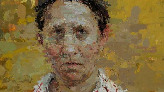 Ann Gale - Self Portrait with Red Grid 2012
