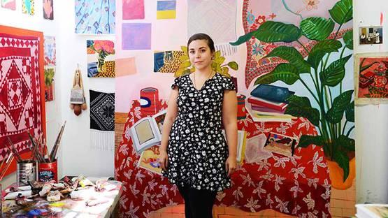 Anna Valdez - artist in her studio