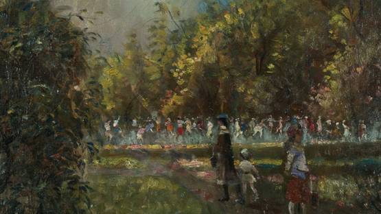 Arpad Balint - Park Scene with Figures (detail) - image via graysauctioneerscom
