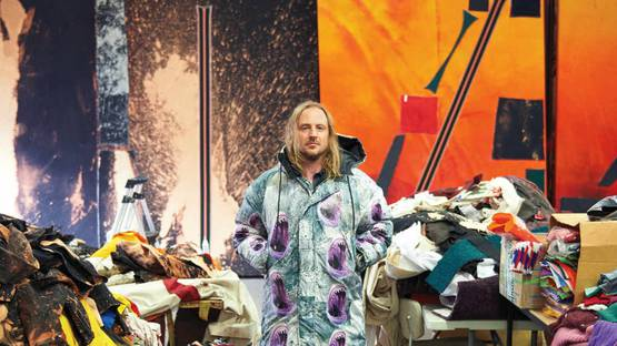 Artist Sterling Ruby in his California studio - image courtesy of W Magazine