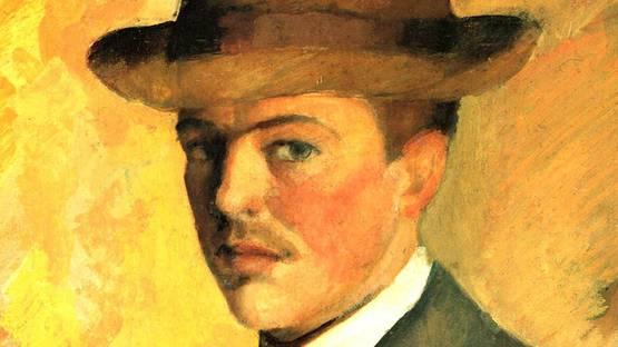 August Macke - Selbstporträt mit Hut (detail), 1909