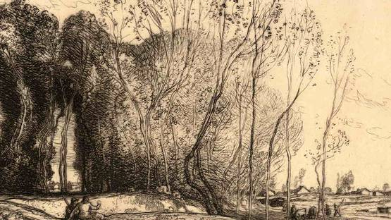 Auguste Lepere - Landscape With Two Figures (detail), by 1918