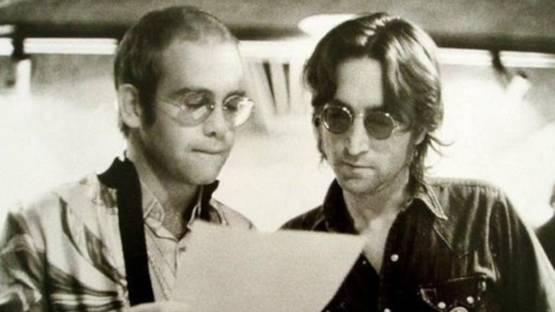 Bob Gruen - Elton John and John Lennon At Record Plant New York, 1972 (detail)