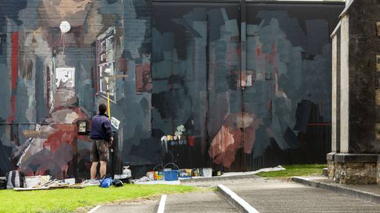 Borondo - intervention in Albany (AUS) for PUBLIC 2016, photo Bewley Shaylor