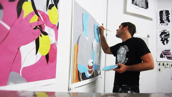 Bryce Wymer working on a piece - image via boxymagcom