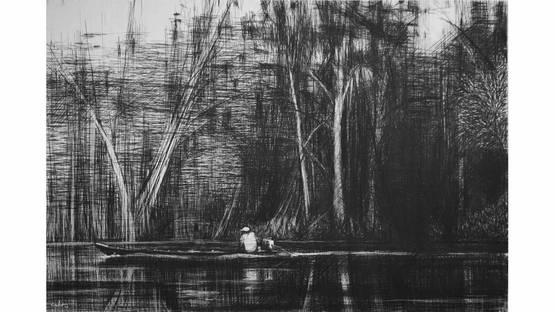 Calo Carratala - Boat on the Maranon River, Jungle series, 2010