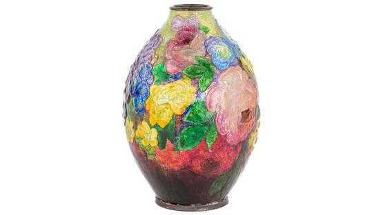 Camille Fauré - Floral Bouquet Enameled Vase