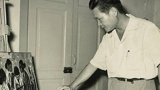 Cheong Soo Pieng in his studio