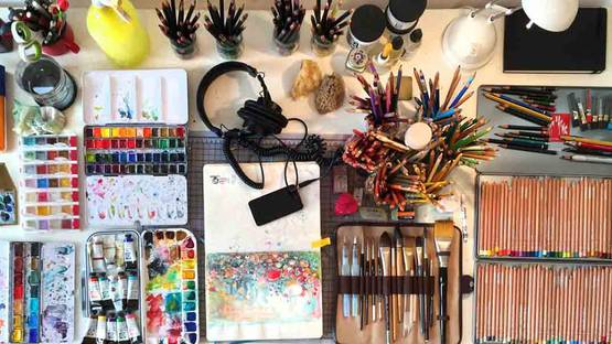 Clara Fialho's working space
