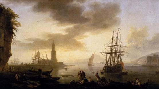 Claude Joseph Vernet - Seascape, Calm, 1735 - 1740 (detail), photo by Wikimedia