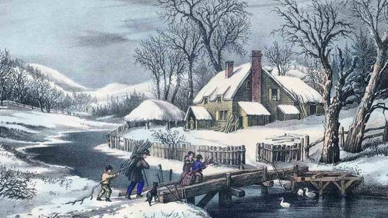 Currier & Ives - The Ingleside Winter, 1872-74 (detail)