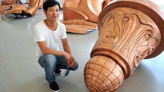 Danh Vo - besides his artwork 'We The People' - Picture EPA- Bernd Schoelzchen
