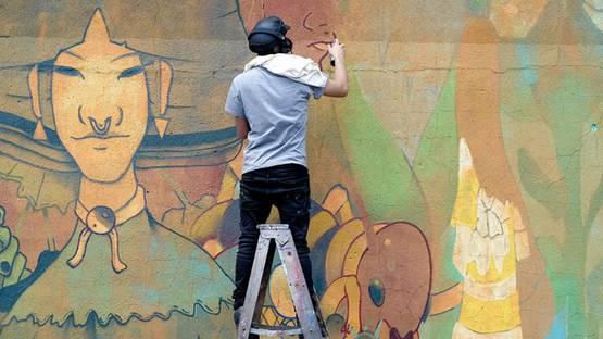 Dhear at his wall, image copyright Sal Rodriguez