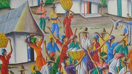 Dieudonné Rouanez  - Haitian Village scene (detail), 90s