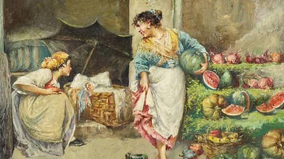 Edwardo Scognamiglio - Two Women Selling Watermelons, detail, photo by Susanins