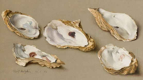 Eliot Hodgkin - Five Oyster Shells (Detail) - image via masterartcom