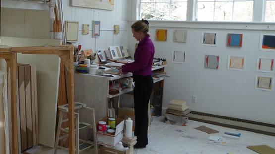 Elizabeth Gourlay - artist in her studio