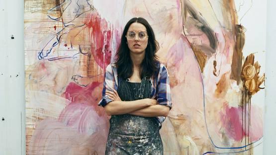 Elizabeth Neel, in her studio in Brooklyn, 2008, photo credits W Magazine