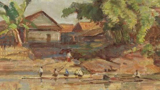 Ernest Dezentje - Activities on the Riverbank (detail)