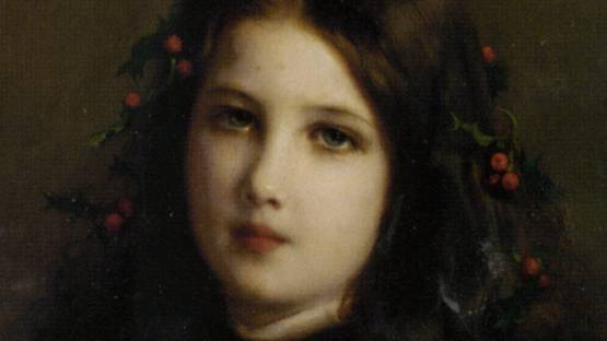 Etienne Adolphe Piot - A Young Girl with Holly Berries (detail), photo via fineartlib info
