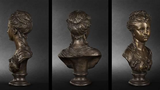 Etienne Henri Dumaige - Buste de jeune fille en bronze, detail from the photo by Expertissim