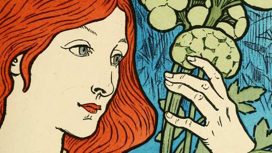 Eugene Grasset - Eugene Grasset Poster with Blue Background (detail), photo via ctgpublishing com