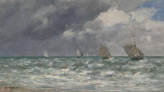Eugene Louis Boudin - Sailboats at Trouville (detail), 1884, photo via Wikipedia