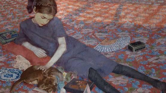 Felice Casorati - Bambina che gioca su un tappeto rosso (detail), 1912