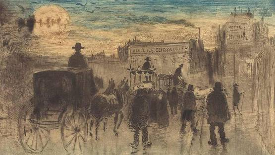 Felix Hilaire Buhot - Convoi Funebre au Boulevard de Clichy - Funeral Procession on the Boulevard de Clichy (detail), 1887 - photo via wikimedia