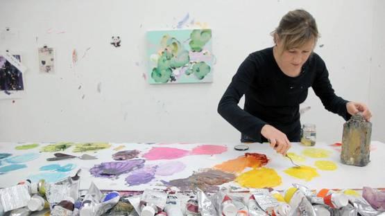 Fiona Rae in studio