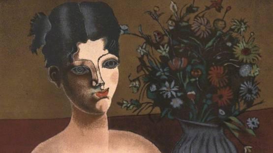 Franco Gentilini - Ragazza con vaso di fiori, 1980 (detail)