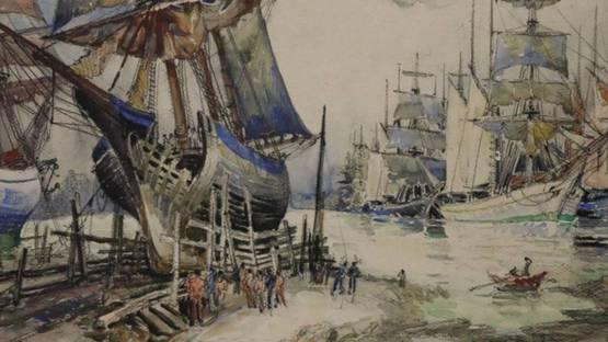 Frank Will - Bateaux a quai, ca. 1920 (detail)