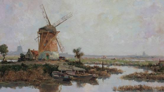 Gerardus Johannes Delfgaauw - Molen in Polderlandschap (detail), photo via galeriedickvanstraten eu