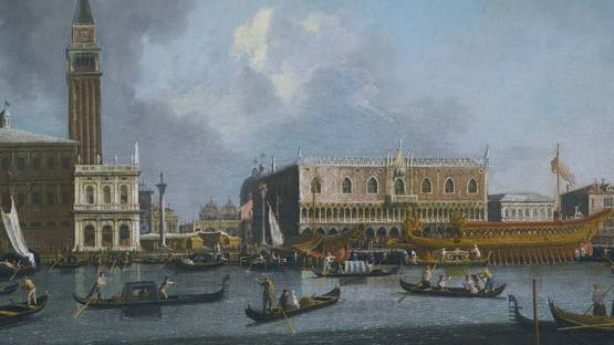 Giovanni Antonio Canal called Canaletto - Venice, The Bucintoro Returning to the Molo on Ascension Day (detail), photo via sothebys