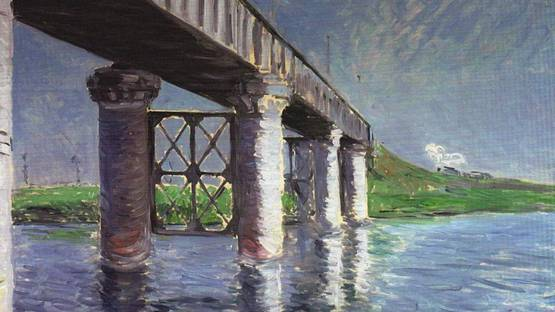 Gustave Caillebotte - The Bridge at Argenteuil (detail), 1885-1887, photo via wikiart