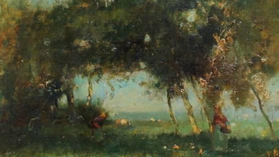 H Vosselman en H Endlich - Landscape with birches, Landscape with rowing boat (detail)