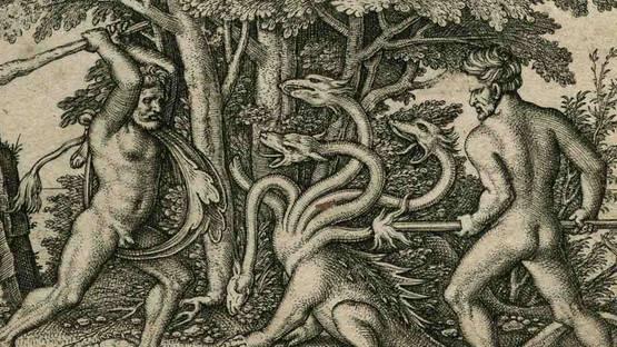 Hans Sebald Beham - Hercules and Iolaus slaying the Hydra, 1545 (detail)