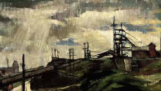 Harold Riley - Landscape with power stations - image courtesy of Christies