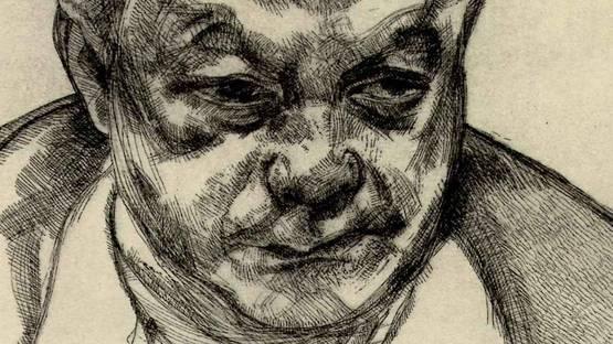 Head of Bruce Bernard (detail) by Freud Lucian