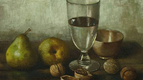 Henk Bos - Pears, Walnuts and Glass (detail)