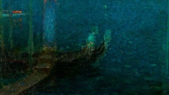Henri Eugene Le Sidaner - Le Bec de Gaz - Nuit bleue (detail), 1906, photo via Wikimedia