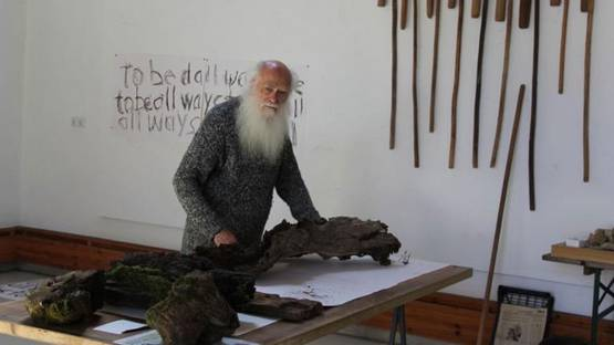 Herman de Vries at work in his Black Forest studio - photo by Katharina Winterhalter