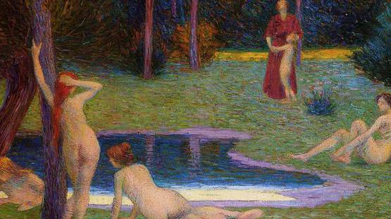 Hippolyte Petitjean - Bathers in the Evening (detail), photo via allpaintings
