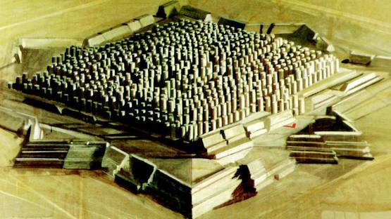 Horia Damian - Fortified City (detail), 1986, photo via wikiart