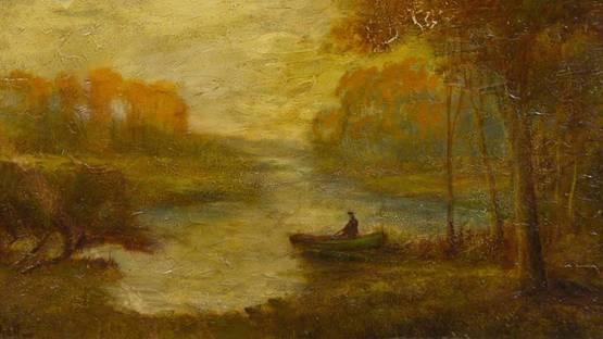 Hudson Mindell Kitchell - Boater at Dusk (detail)